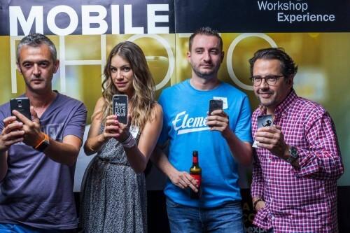 Presentación del Microcurso Mobile Photo de Workshop Experience en el Espacio Harley. Podemos ver a Dani Parra, Kimberly Sunster, Pablo David Martín y Phil González en el Photocall.