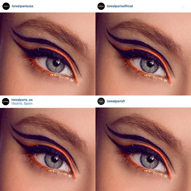 Eyeliner-naranja--compartido-por-loreal-mundial,-españa,-francia-y-estados-unidos