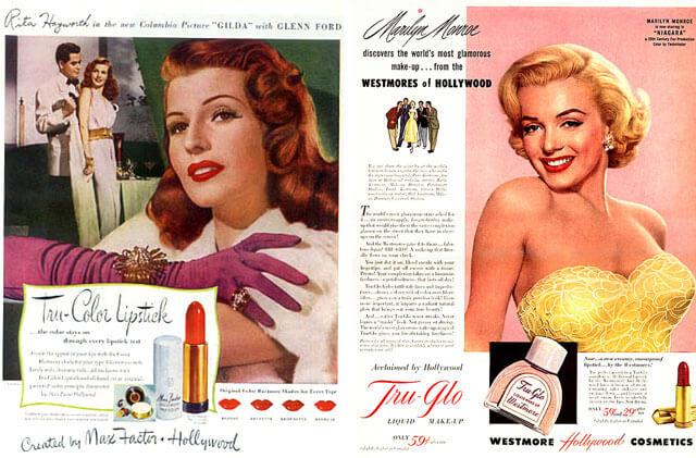 Anuncio pintalabios rojo Rita Hayworth para Max Factor y Marilyn Monroe para Westmore Hollywood Cosmetics