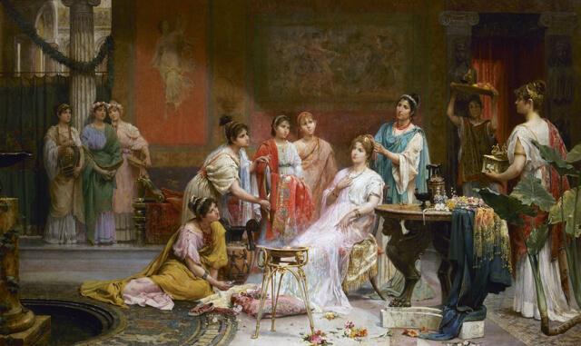 Mujeres aplicando colorete en la Antigua Roma