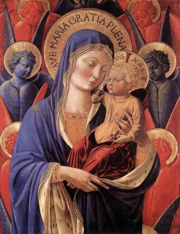 Imaginería religiosa color azul