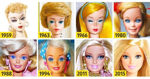 Evolución de la muñeca Barbie desde 1959 hasta 2015