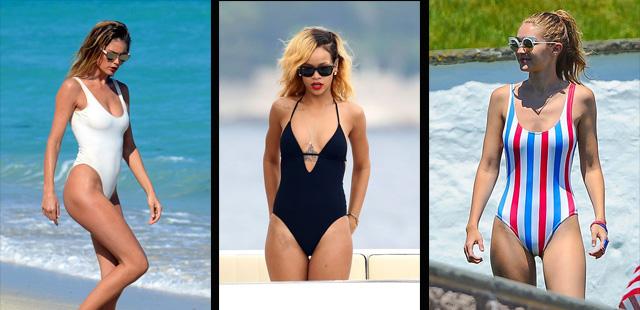 Celebrities portando distintos modelos de bañadores