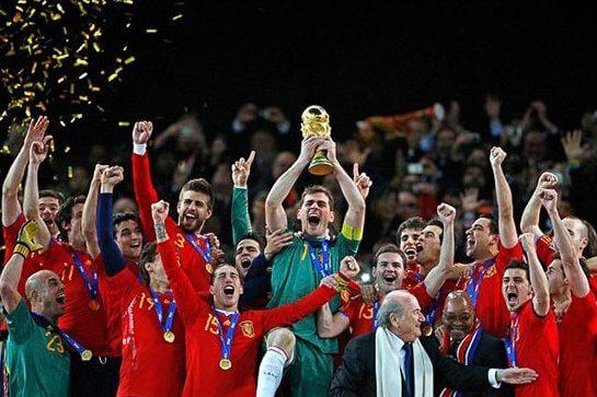 La selección de fútbol de España ganadora del Mundial de Fútbol de 2010.