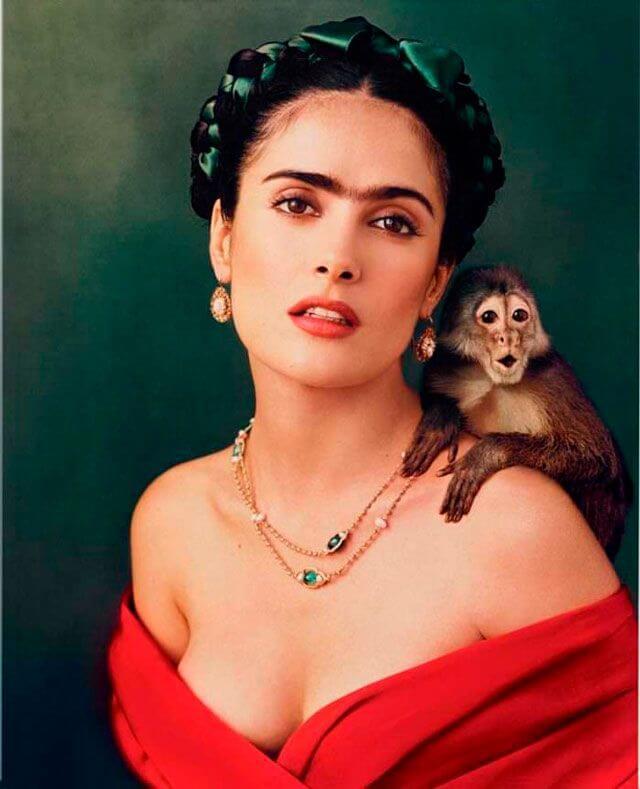 Salma Hayec en su papel de Frida Kahlo