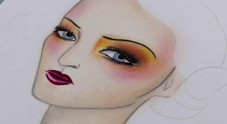 Maquillaje de fiesta en tonos amarillos y naranjas.