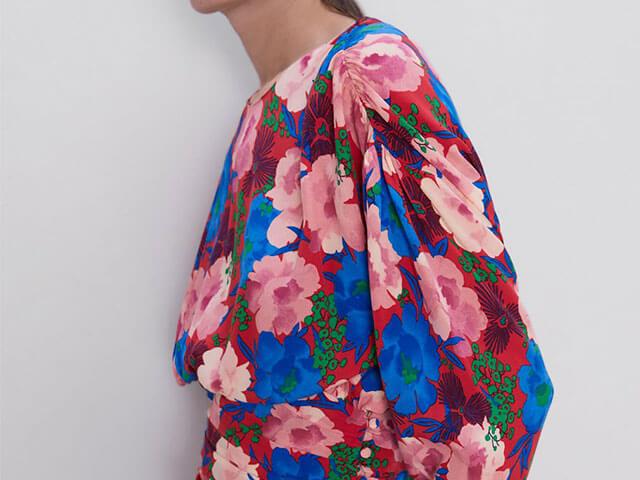 Cuerpo drapeado estampado floral de la nueva colección de Zara.