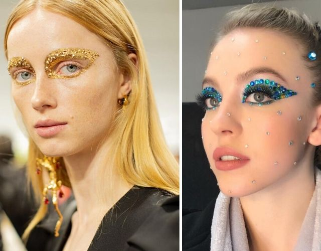 Tendencias de maquillaje 2020 con ojos joya.
