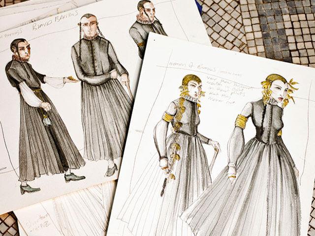 Bocetos de los distintos estilismos de Juego de Tronos